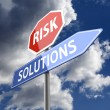 Risk and Solutions Words on Red Blue Road sign — Stock Photo
