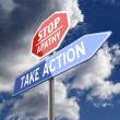 Stock Photo: Stop Apathy and Take Action Words on Red Blue Road sign