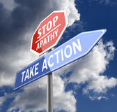 Stop Apathy and Take Action Words on Red Blue Road sign — Stock Photo
