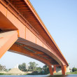 Red bridge on river sava — Foto Stock