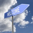 Welcome word on Blue Road Sign — Stock Photo