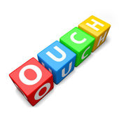 Ouch word made of colorful toy blocks — Stock Photo