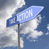 Neem actie woorden op blauwe verkeersbord — Stockfoto