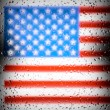 American flag behind dirty glass window with water rain drops — Foto Stock