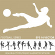Football soccer silhouettes — Stock Vector