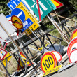 Stack of different old traffic road signs — Stockfoto