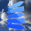 Road sign blank with five blue arrows — Stok fotoğraf