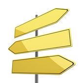 白の背景に分離された 3 つの黄色の矢印で空白の道路標識 — ストック写真