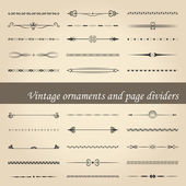 Vintage ornaments and page dividers — Vector de stock