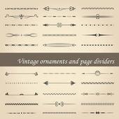 Vintage ozdoby a oddělovače — Stock vektor