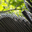 Metal fence close up — Stock Photo