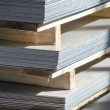 Stock Photo: Sheet metal on wood palettes