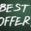 Best offer words on chalkboard backgruond — Foto Stock