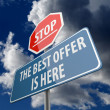 Stop and The Best Offer is Here words on Road Sign — Stok Fotoğraf #35599635