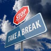 Parar e fazer uma pausa de palavras em sinal de estrada — Foto Stock