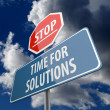 Stop and Time for Solutions words on Road Sign — Stock Photo