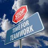 Stop and Time for Teamwork words on Road Sign — Stock Photo