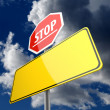 Stop word on Road Sign Red and Blank Space on Road Sign Yellow — Stock Photo