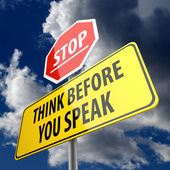 Think Before you Speak words on Road Sign and Stop Sign — Stockfoto