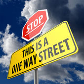 This is a One Way Street words on Road Sign Yellow and Stop sign — Stock Photo