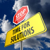 Time for Solutions words on Road Sign and Stop Sign — Photo