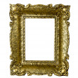 Old gold vintage picture frame isolated on white — Stockfoto