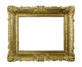 Old golden vintage picture frame isolated on white background — Stock Photo
