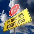 Stockfoto: Stop it is time for weight loss words on road sign