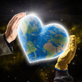 Hands of businessman and worker holding heart-shaped Planet Earth — Stock Photo