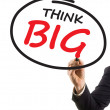 Stock Photo: Businessmhand writing text think big