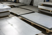 Sheet tin metal in production hall  — Stock Photo
