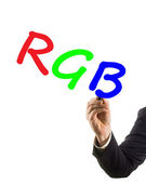 Businessman hand with felt tip marker writing text RGB — Stock Photo