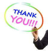 Businessman hand with felt tip marker writing text thank you — Stock Photo
