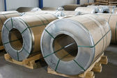 Sheet metal rolls in production hall — Stock Photo