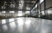 Sheet tin metal production hall — Stock Photo