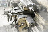 Old lathe machine in production hall — Stock Photo