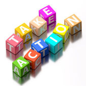 Take action words made of colorful toy blocks — Stock Photo