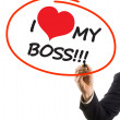 Businessman hand with felt tip marker writing text I love my boss with heart shape — Stock Photo
