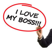 Businessman hand with felt tip marker writing text I love my boss — Stock Photo
