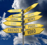 Social media concept with road signs on blue sky background — Stock Photo