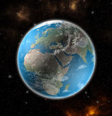 View on the Earth from space showing Europe and Africa - Elements of this image furnished by NASA  — ストック写真