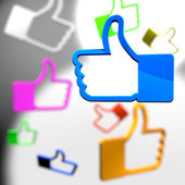Social media concept - thumb up icons — Stock Photo