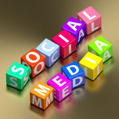 Social media words on colorful toy blocks — Stock Photo