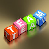 Teamwork concept - team word on colorful toy blocks — Stock Photo