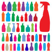 Household bottles silhouettes — Stock Vector