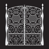 Beautiful iron Gate Silhouette — Stock Vector