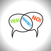 Speech bubbles vector icons with yes no and maybe text — Stock Vector