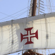 Details caravels, ships, Portuguese cross — Stock Photo