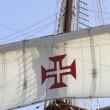 Details caravels, ships, Portuguese cross — Stock Photo