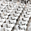 Stock Photo: Rows of chairs for outdoor dehors alfresco bar and live gig conc